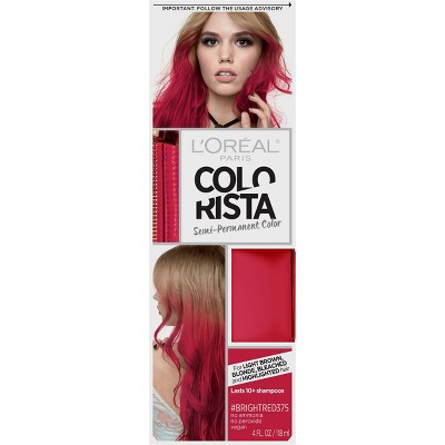 L'Oreal Paris Colorista Semi-Permanent Hair Color - Light Bleached Blondes - Bright Red - 1 kit
