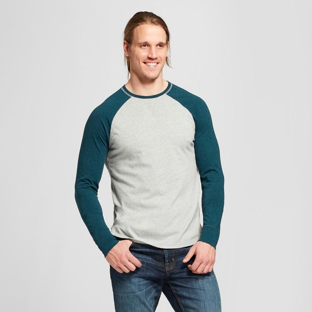 Men's Long Sleeve Sensory Friendly Baseball T-Shirt - Goodfellow & Co Brunswick Green S