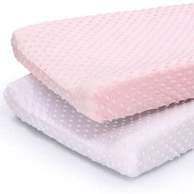 The Peanut Shell Minky Dot Solid Changing Pad Covers - Pink/White 2pk