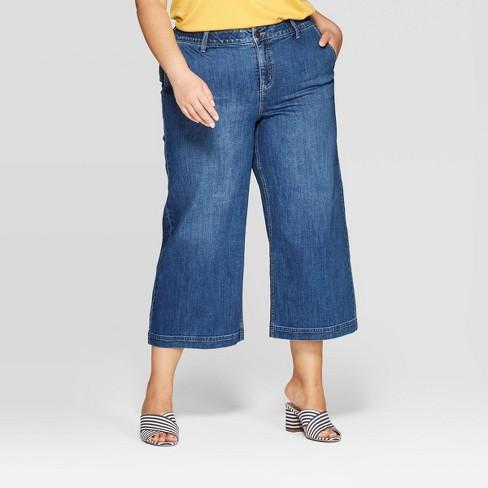 Women's Plus Size Cropped Wide Leg Jeans - Ava & Viv™ Medium Wash - image 1 of 3