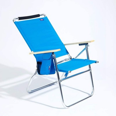 Copa Big Tycoon 4 Position Lightweight and Portable Folding Aluminum Lay Flat Beach Lounge Chair, Light Blue