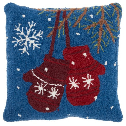 The Holiday Mittens Square Throw Pillow Blue - Mina Victory - image 1 of 4