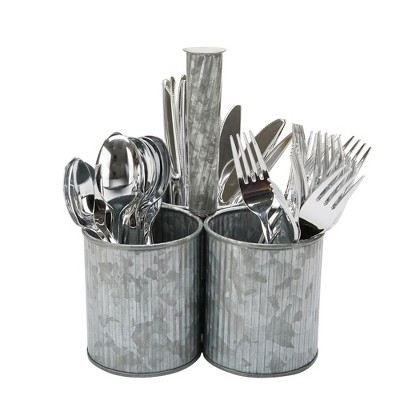 MIND READER Utensil Caddy [3 Round Compartments] (SILVER LINES)