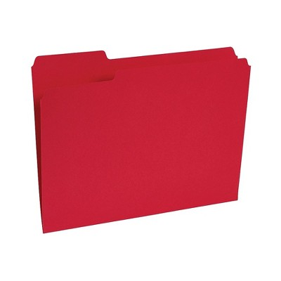 Staples Colored File Folders w/ Reinforced Tabs Letter 3 Tab Red 100/Box TR508978/13846