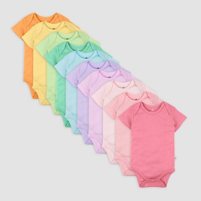 Honest Baby Girls' 10pk Organic Cotton Rainbow Short Sleeve Bodysuit - 3-6M