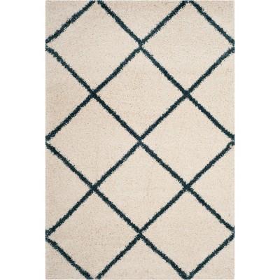 6'X9' Hudson Shag Area Rug Ivory/Slate Blue - Safavieh