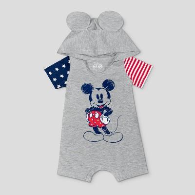Baby Boys' Disney Americana Mickey Hooded Romper - Gray Newborn