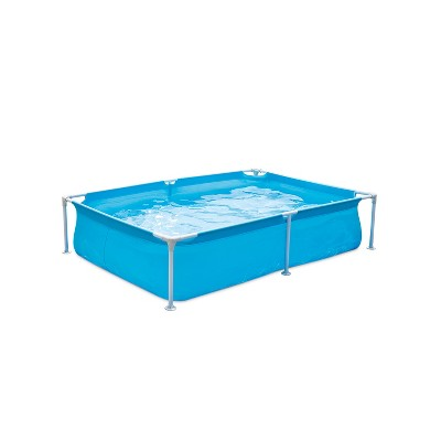 Summer Waves P3060416A 6 x 4.25 Foot 17 Inch Deep Rectangular Small Metal Frame Above Ground Family Backyard Swimming Pool, Blue