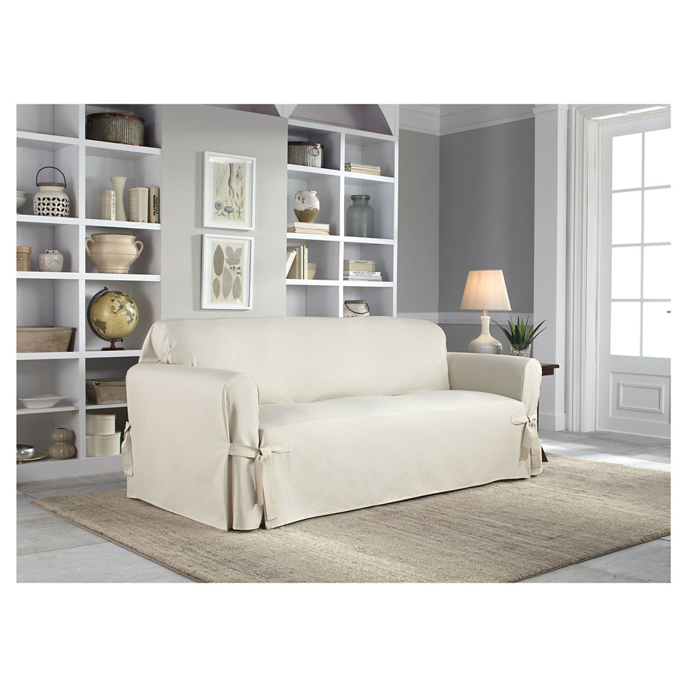 Natural Relaxed Fit Duck Furniture Sofa Slipcover - Serta