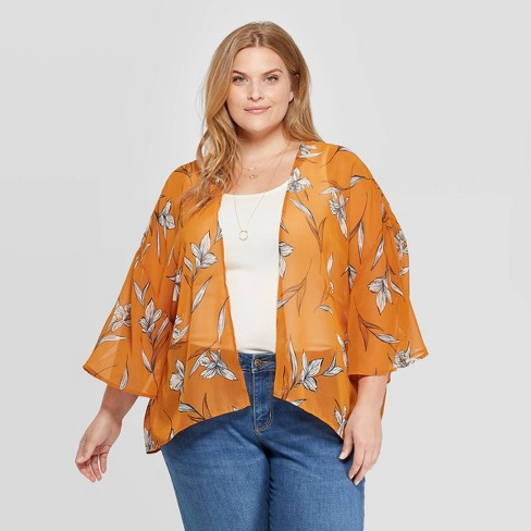 Women's Plus Size Woven Floral Print Pleat Back Kimono - A New Day™ One Size - image 1 of 2