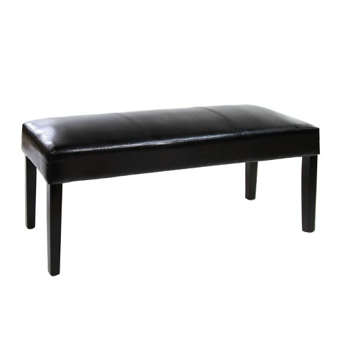 LexintonLeatherette Padded Dining Bench Black - ioHOMES - image 1 of 3
