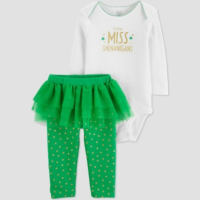 Baby Girls' St. Patricks Day Little Miss 2pc Tutu Set - Just One You® made by carter's Green/White Newborn