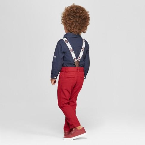 Genuine KidsR From OshKosh Toddler Boys 3pc Holiday Dressy Shirt Pants And Suspender Set