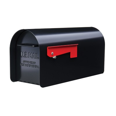 Gibraltar Mailboxes Ironside Large Weatherproof Post Mount Galvanized Steel Mailbox, Black