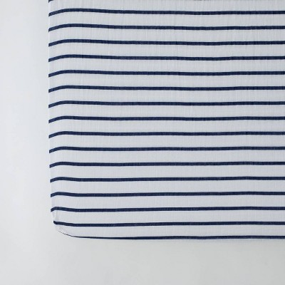 Red Rover Cotton Muslin Crib Sheets - Navy Stripe
