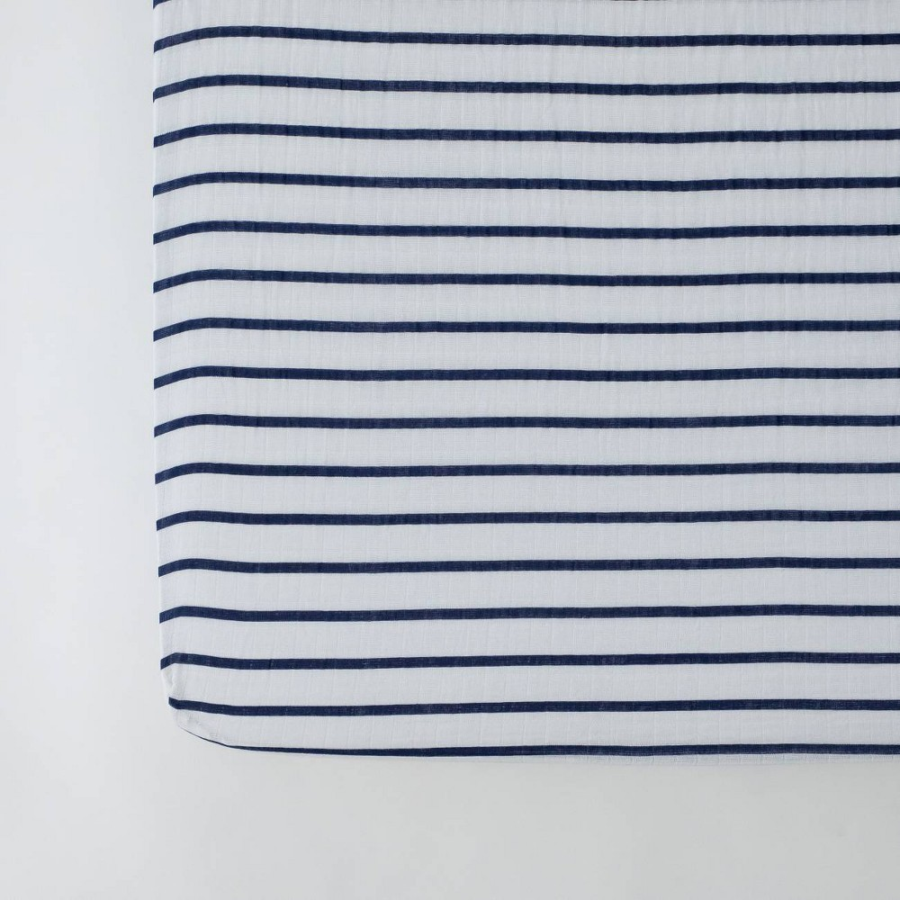 Image of Red Rover Cotton Muslin Crib Sheets - Navy Stripe, Blue Stripe