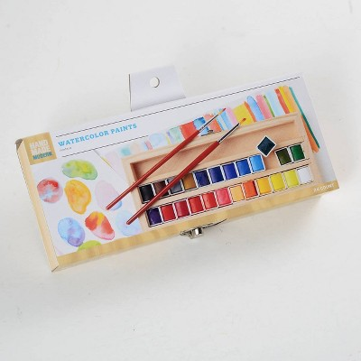24ct Watercolor Paint Set in Wood Box - Hand Made Modern®