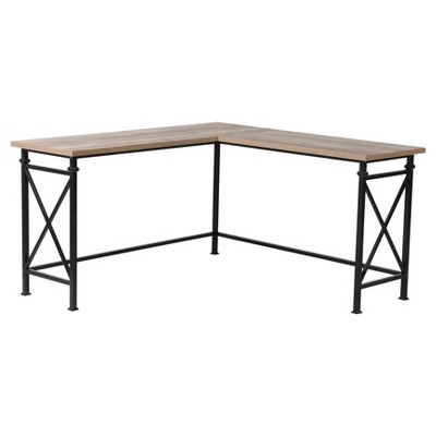 Banquo Corner Desk with Metal Legs - Reclaimed Wood - Homestar