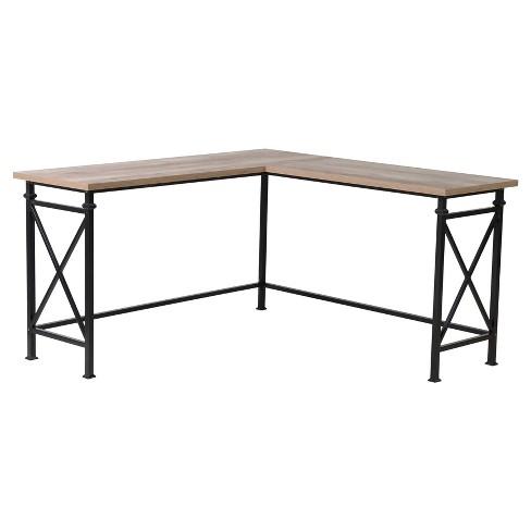 Banquo Corner Desk With Metal Legs Reclaimed Wood Homestar
