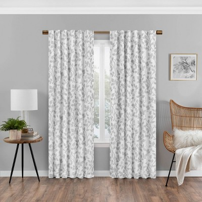 Nora Botanical Print Absolute Zero Blackout Window Panel - Eclipse