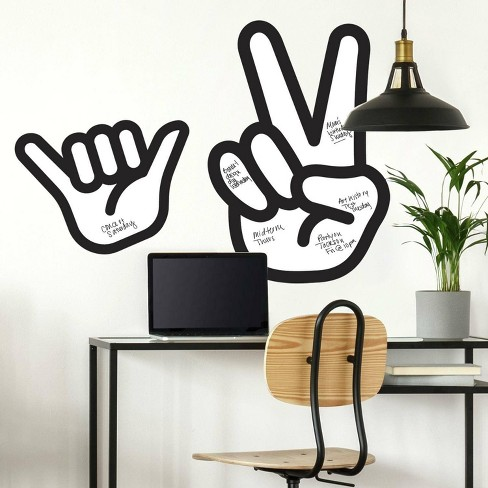 Peace Hand Dry Erase Peel and Stick Giant Wall Decal - RoomMates - image 1 of 4