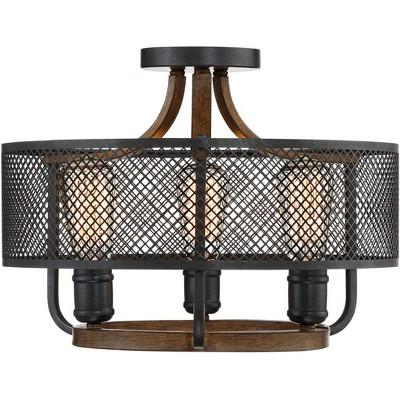 "Franklin Iron Works Farmhouse Ceiling Light Semi Flush Mount Fixture Black Mesh Wood 16"" Wide 3-Light for Bedroom Kitchen Hallway"