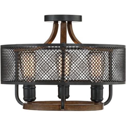 "Franklin Iron Works Farmhouse Ceiling Light Semi Flush Mount Fixture Black Mesh Wood 16"" Wide 3-Light for Bedroom Kitchen Hallway - image 1 of 4"