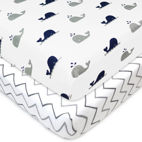 TL Care 100% Fitted Cotton Playard Sheet Zigzag Navy Whale & Gray - 2pk - image 1 of 4