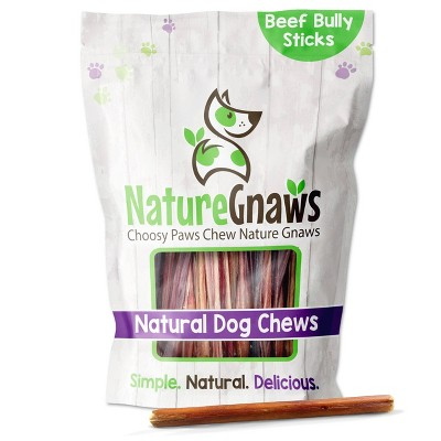 "Nature Gnaws Extra Thin Bully Sticks 5-6"" Beef Dog Treats- 25ct"
