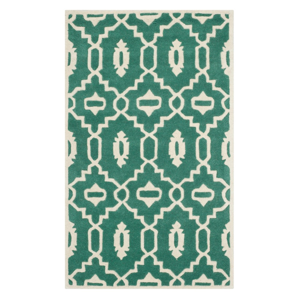 3'X5' Geometric Accent Rug Teal/Ivory (Blue/Ivory) - Safavieh