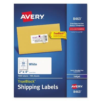 Avery Shipping Labels with TrueBlock Technology Inkjet 2 x 4 White 1000/Box 8463