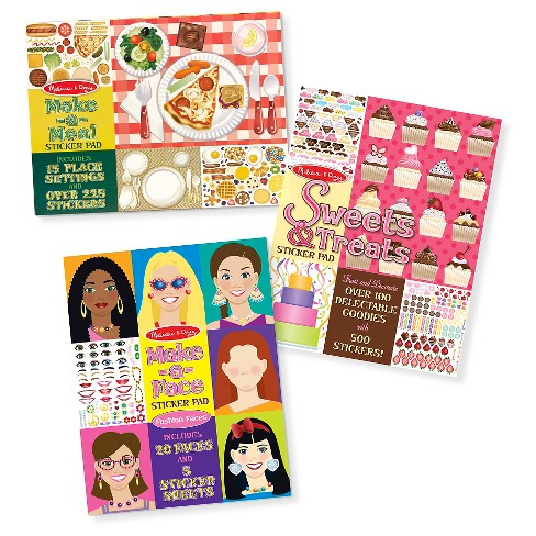 Melissa & Doug Sticker Pads Set: Sweets and Treats, Make-a-Face Fashion, and Make-a-Meal - image 1 of 4