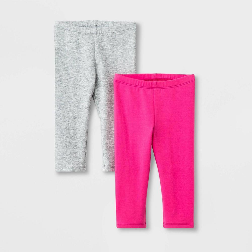 Toddler Girls 2pk Capri Leggings - Cat & Jack Pink/Gray 12M Compare