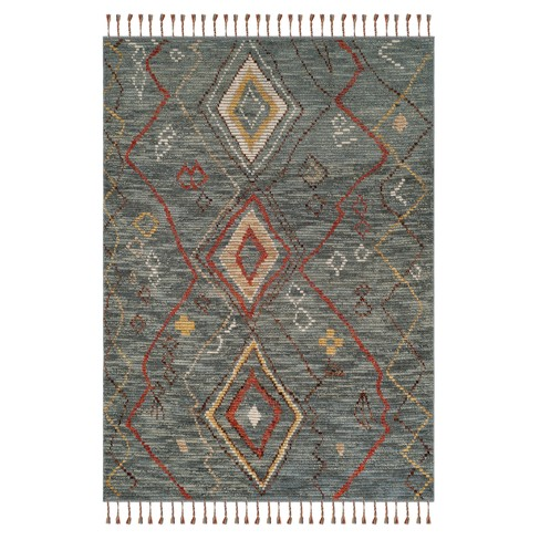 Gray Tribal Design Knotted Area Rug 6'X9' - Safavieh - image 1 of 1