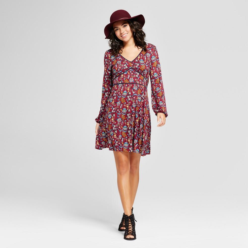 Women's Velvet Trim Knit Fit & Flare Dress - Xhilaration (Juniors') Rose (Pink) XL