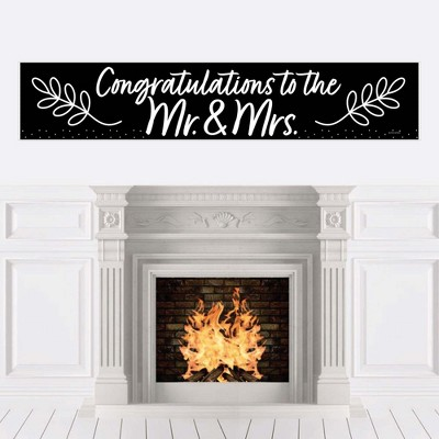 Big Dot of Happiness Mr. and Mrs. - Black and White Wedding or Bridal Shower Decorations Party Banner