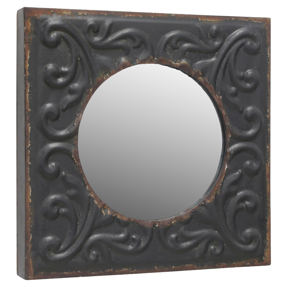 Image of Tin Type Square Wall Mirror with Decorative Design Dark Gray Metal