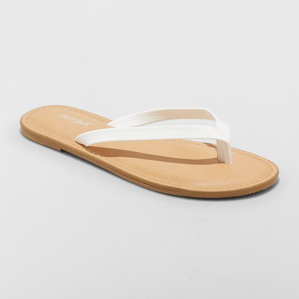 Girls' Serena Flip Flop Sandals - Cat & Jack White XL
