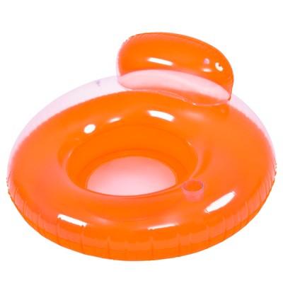 "Pool Central 46.5"" Orange Inflatable Inner Tube Pool Float with Backrest"