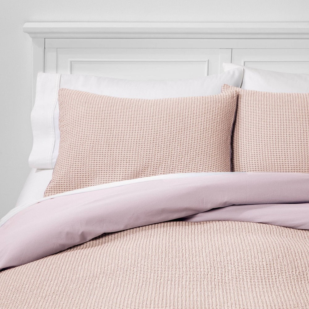 Twin/Twin Extra Long 2pc Washed Waffle Weave Duvet & Pillow Sham Set Pink Tonal - Threshold
