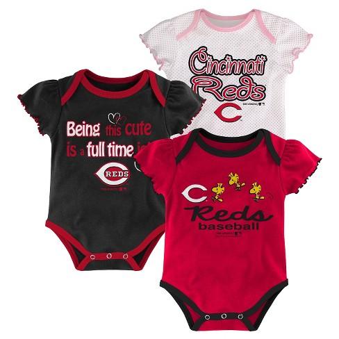 48dce90690f0 Cincinnati Reds Girls 3pk Bodysuit Crawlers 18 M : Target
