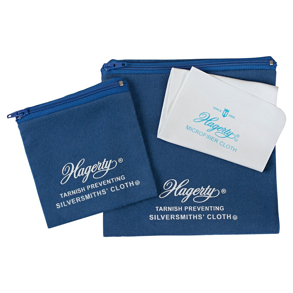 Image of Hagerty 3 Piece Jewelry Storage Set made from Hagerty Silversmith's Cloth with R-22 Tarnish Preventative, Adult Unisex, Size: Small, Blue