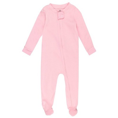 Honest Baby Solid Snug Fit Footed Pajama - Pink 12M