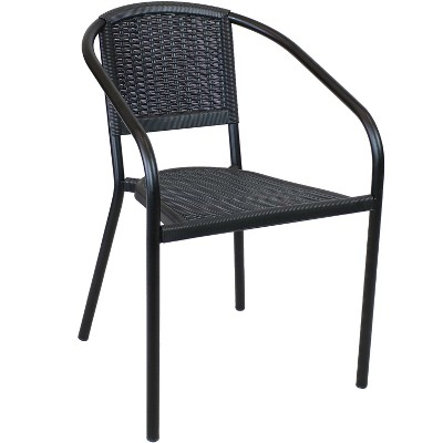 Sunnydaze Steel Frame and Polypropylene Seat and Back Aderes Outdoor Patio Arm Chair, Black