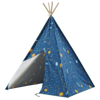 Wonder&Wise 10101162 Glow in the Dark Starry Sky Indoor Childrens Kids Toddler Foldable Canvas Play Teepee Tent House Toy for Ages 3 and Up