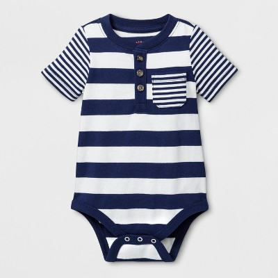 Baby Boys' Stripe Short Sleeve Bodysuit with Chest Pocket - Cat & Jack™ Navy 3-6M