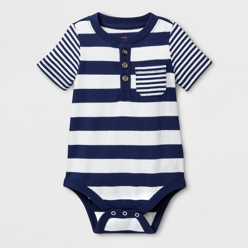 78bb8ee72 Baby Boys  Stripe Short Sleeve Bodysuit with Chest Pocket - Cat ...