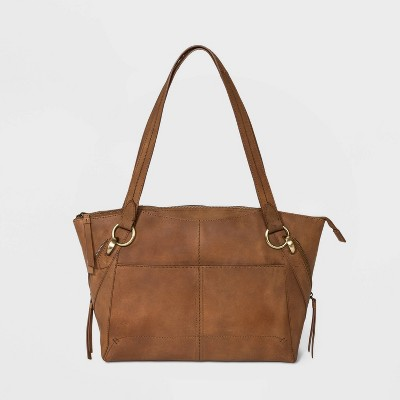 Bolo Zip Closure Leather Tote Handbag - Brown