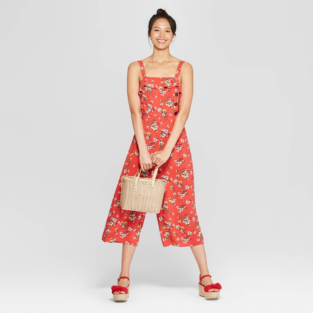 Women's Floral Print Strappy Ruffle Trim Side Button Cropped Jumpsuit - Xhilaration Red XS