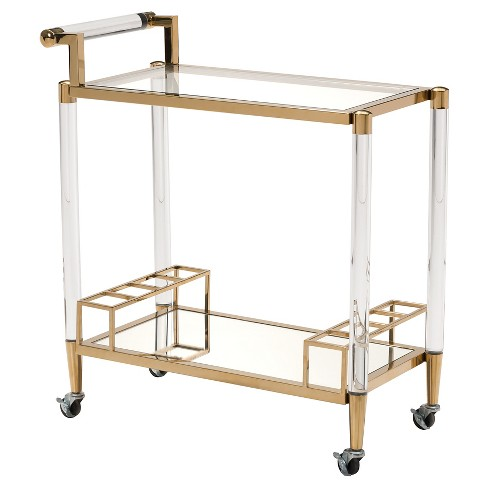 Modern 2-Shelf Lucite and Stainless Steel Bar Cart - Gold - ZM Home - image 1 of 1